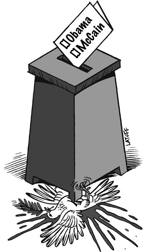 Den brasilianske tegner Carlos Latuffs kommentar til det amerikanske præsidentvalg